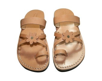 Caramel Flower-cross Leather Sandals For Men & Women - Handmade Sandals, Leather Flats, Leather Flip Flops, Caramel Unisex Sandals