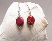 Red Ocean Jasper Beaded Earrings, Delicate Beaded Earrings, Gift Giving, Handmade by Harleypaws, SRAJD