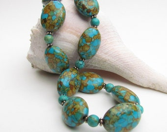Matrix Turquoise Beaded Necklace, Handmade by Harleypaws, SRAJD