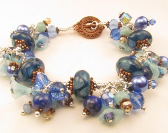 Blue and Copper Beaded Lampwork Charm Bracelet OOAK, Handmade by Harleypaws, SRAJD