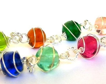 Multicolor charm bracelet, wire wrapped colorful spiral wrapped ball bracelet, gumball charms, colorful linked bracelet