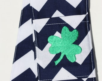 Monogrammed Camera Strap Cover- lens cap pocket and padding included- Navy Chevron/ Clover