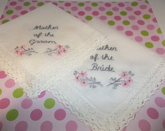 Mother of bride , mother of groom wedding handkerchiefs, hand embroidered, set of 2, grey and pink, cherry blossom, wedding colors welcome