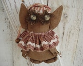 Hooter the Elf Owl, Primitive, Rustic, Owl, Christmas, Winter, Ofg, Faap, Hafair