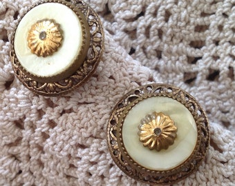 Button Post Earrings - Vintage Gold Metal and Mother of Pearl Buttons Antiqued Gold Setting