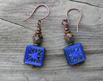 Cobalt Blue Earrings, Deep Blue Earrings Blue Czech Glass Earrings Jewelry Boho Small Earrings