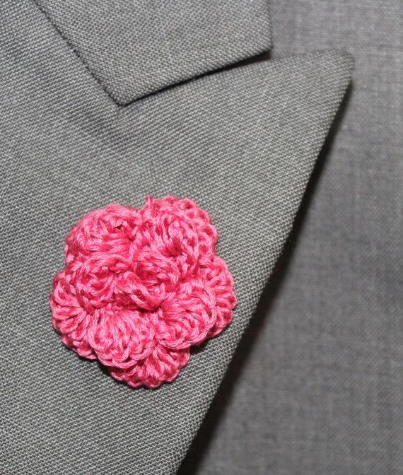 Crochet Mens Lapel Accent Flower Buttonhole Flower Mens
