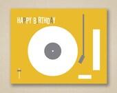 Happy Birthday Greeting Card - Retro Mustard and Gray Record Player