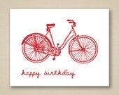 Happy Birthday Greeting Card with Cherry Red Envelopes - Vintage Bicycle - Nancy