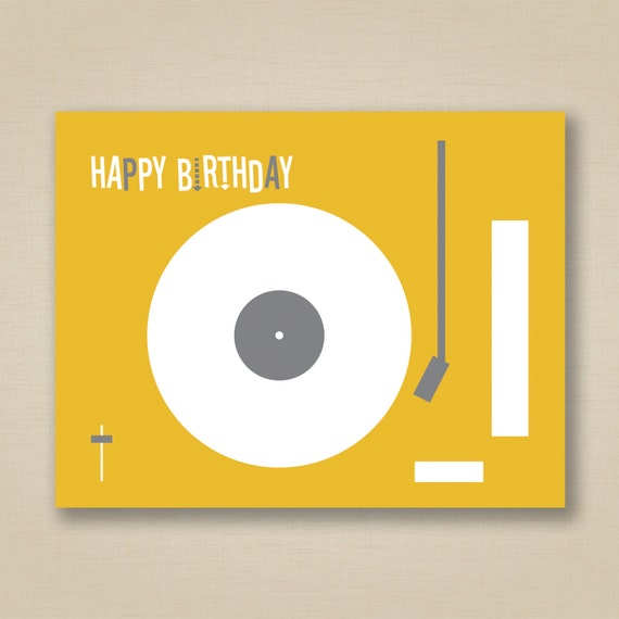 Happy Birthday Greeting Card Retro Mustard And Gray Record