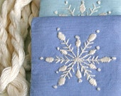 DIY Gift Pouch Crewel Embroidery Kit Snowflakes in periwinkle, lilac and sky blue