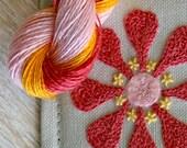 DIY Crewel Embroidery Kit  pink rose zinnia on grey needlebook