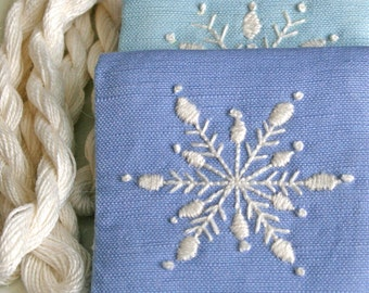 Crewel Embroidery Pattern DIY Embroidery Kit Winter Snowflakes in periwinkle, lilac and sky blue