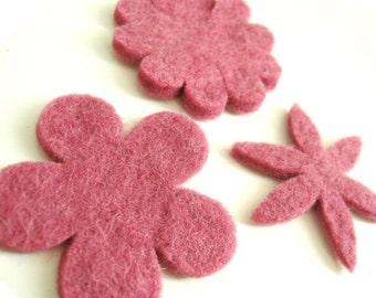 Pink Felt Flowers - 3 Pure Wool Handmade Embellishments 60mm - Mixed Shapes