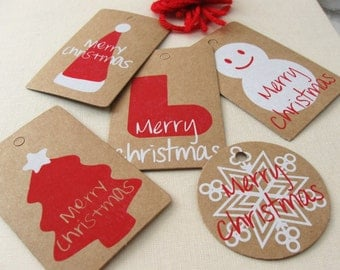 Set of 5 Christmas Mixed Tags - Rustic winter cardboard gift tags