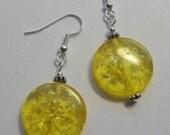 Light Amber Coin Earrings  E1289