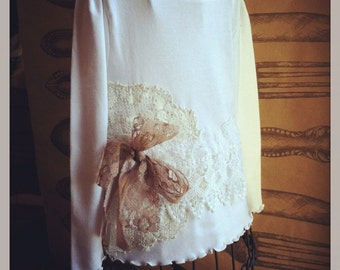 Girls Embellished Shirt With Vintage Lace 2T