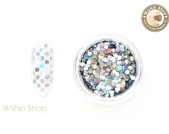 2mm Holographic Silver Round Dots Glitter / Nail Art Craft