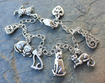 Love My Cat charm bracelet / anklet- silver plated kitty themed charms on sterling silver chain -Free Shipping USA - child size to plus size