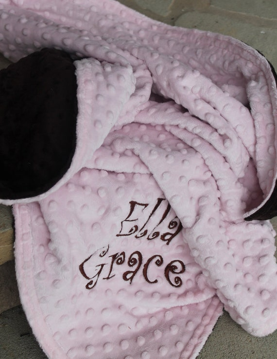 Baby Toddler Minky Personalized Monogrammed Embroidered Soft and Comfy Chenelle School Nap Nursery Two Color Customized 30x40 Blanket