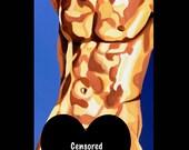 Male Figurative Sensual Sexy Nude Wall Art Print - 8x10 - Sucette - Mature