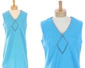 MOD Cocktail Dress 60s Bright Blue Rhinestones 70s Mini Glam Glitz Twiggy That Girl Indie Retro Large L