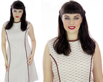 60s Mod Dress Vintage 1960s Brown White Pattern Sixties 70s A-line Piping Details 1970s Retro Day Dress Large L XLarge XL