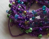 Handmade Crochet & Bead Trim Embellishment, Purple and Peacock, Crafting, Sewing, Quilting, Jewelry Making