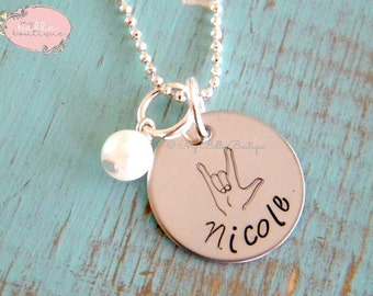 Personalized Hand Stamped Necklace with Name, Swarovski Pearl and ASL American Sign Language Design Stamp