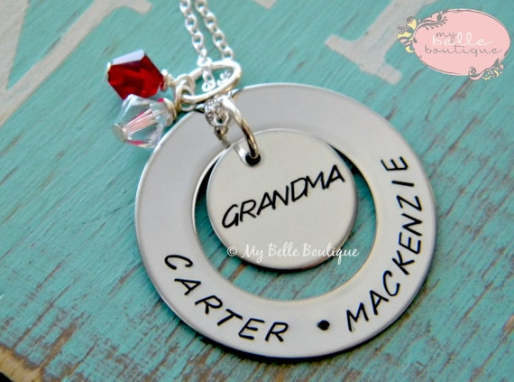Personalized Hand Stamped Family Names Washer Birhstones and Disc Necklace for Mom Mother Grandma Grandmother