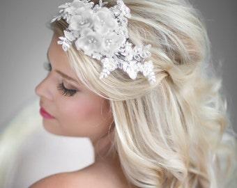 Wedding Hair Accessory, Rhinestone Bridal Head Piece, Floral Lace Head Piece