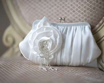 Wedding Handbag, Diamond White Clutch, Bridal Purse