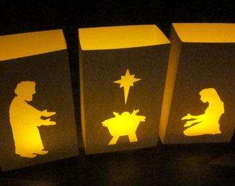 Nativity Luminaries - Set of 3 Paper Lanterns
