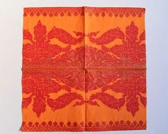 Orange Napkin, Paper Napkin for Decoupage, Craft Napkin, Scrapbooking Napkin, Decoupage Paper Tissue