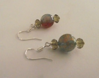Pretty Blue/Brown Dragon Vein Earrings with Bronze crystal accent