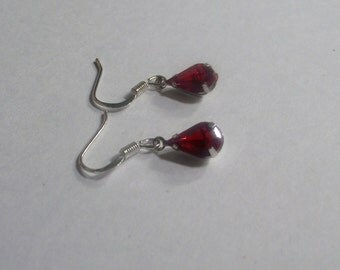 Gorgeous Red Crystal Dangle Earrings on Silver Ear Wires