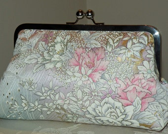 Silk Kimono Fabric Clutch/Purse/Bag..Orchids..Roses..Long Island Bride/Wedding Gift..Cherry Blossoms..Lavender/Aqua