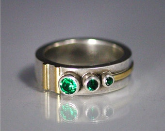 3 Stone Sequence Ring 14K (Emerald)(Oxidized) made to order