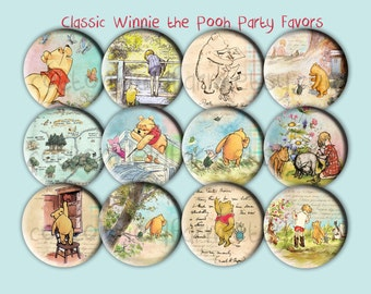 Baby Shower Favors Classic Winnie the Pooh Images  2.25 inch Pin Back Buttons, Mirrors or Magnets Set of 12