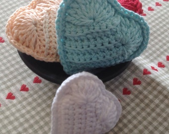 Crocheted Lavender Heart Sachets / Your Color Choice