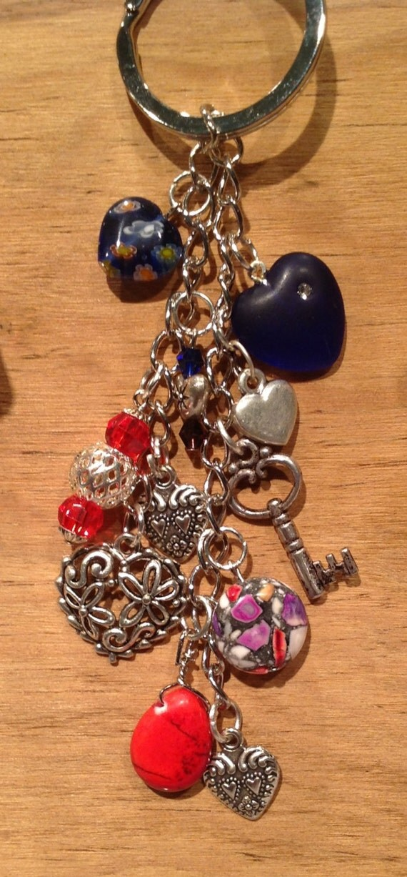 Purse - Phone - Rear View Mirror / Charm / Large Heavy Duty Clasp / Key to my Heart