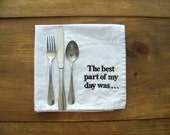 ON VACATIONconversation starter napkins - cotton -  cloth napkins - white - embroidered - custom - personalized - dinner party - holiday di