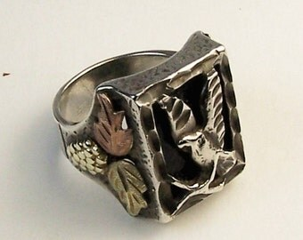 Rare Donald Douglas Mans Handmade Sterling Silver, Onyx and Multi -Color Gold Navajo Eagle Ring