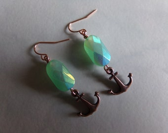 Shiny Green AB Glass Beads with Copper Anchors