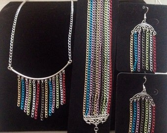 Multicolored chain link jewelry set of 3