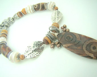 Brown gemstone necklace, agate pendant, brown and white necklace, fire symbol, white coin pearls... Tribal