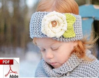 Headband Knitting Pattern Only Earwarmer  Chunky Knit Flower PDF Fits 2T - Adult  - Amy No18