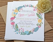 Rustic Floral Wreath Wedding Invitation for Spring or Summer