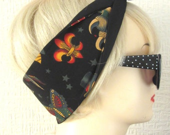 Black Tattoo Flash Print Rockabilly Hair Tie by Dolly Cool Traditional Old School