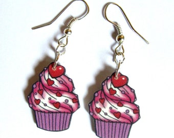 Cupcake Earrings Hearts with Sprinkles Drop by Dolly Cool